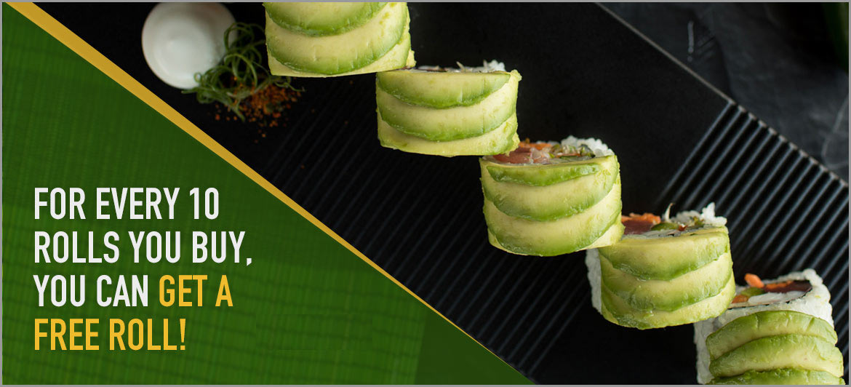 free sushi roll rewards